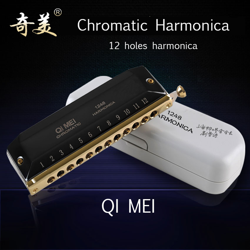 Chromatic Harmonica QIMEI Black 12 Holes/48 Tones Mouth Organ Professional Wind Instrument Adult Student Gifts C1-D4 easttop brass chromatic harmonica 16 hole brass abs comb musical instruments mouth organ chromatic slide harmonica good sound