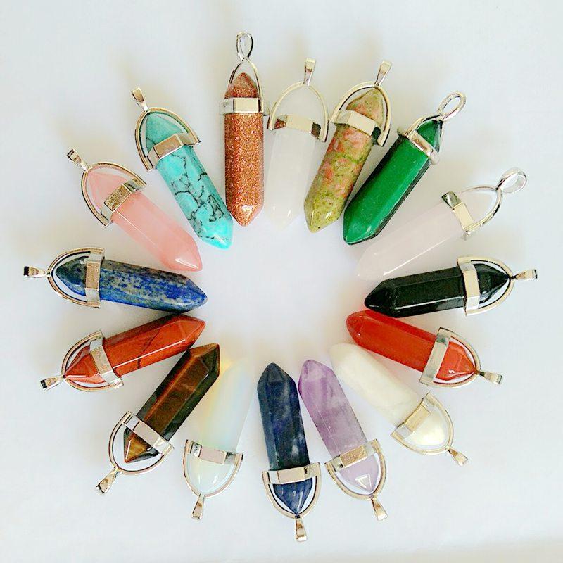 Reiki Healing Stone Pendant Bullet Perfume Crystal Necklaces Pendants Fashion Bijoux Choker Necklace Jewelry For Women Lol