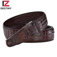 DESTINY Luxury Famous Brand Designer Belts Men High Quality Male Genuine Leather Strap Crocodile Design Wedding Belt Jeans Brown