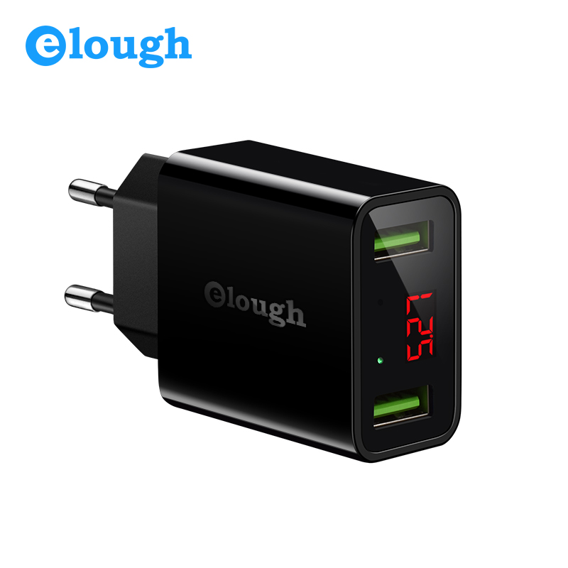 Elough Dual USB Charger EU US Plug 2.1A Smart Travel Wall LED Turbo Mobile Phone Charger For Samsung iPhone Tablet Fast Charging