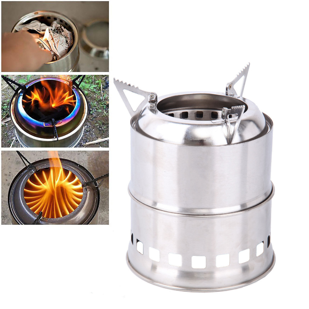 Portable Outdoor Camping Stove Wood Stove Firewoods Furnace Stainless Steel BBQ Picnic Burning Camping Cook Stove outdoor portable stainless steel gas stove
