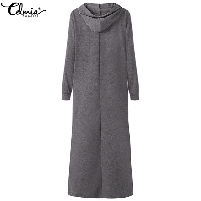Celmia Plus Size Women Maxi Dress Autumn Hooded Dress Sweatshirt Female Long Sleeve Hoodies Winter Pullover Vestido Robe Femme 6
