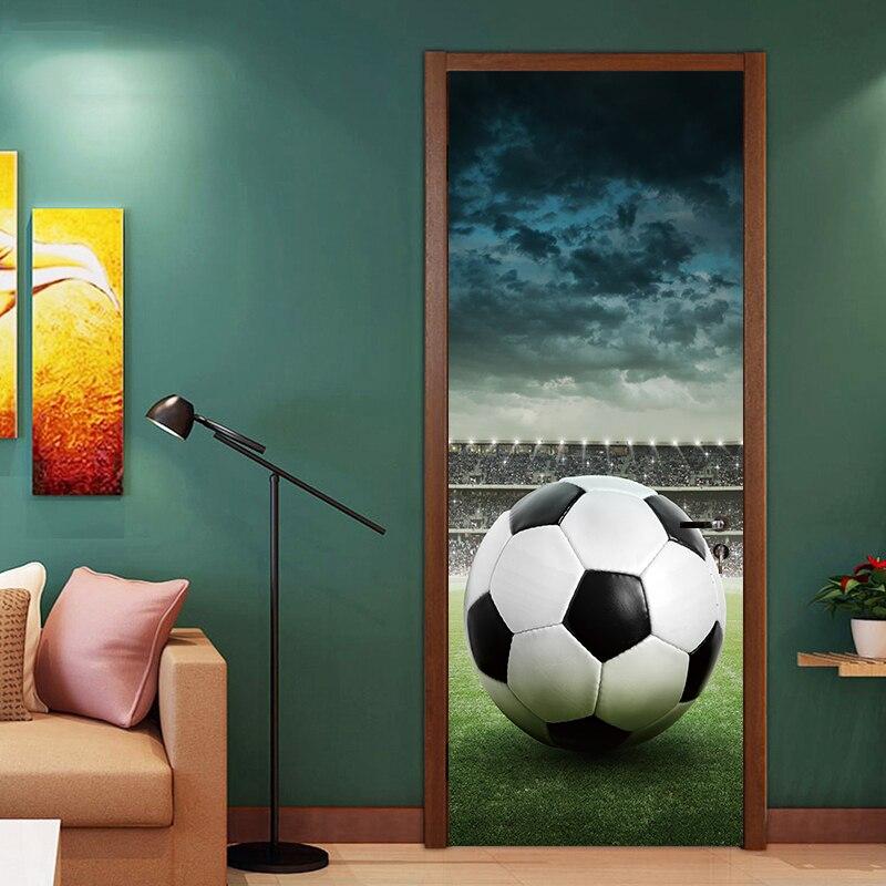 Efecto 3D Vivid Fútbol impermeable Puerta extraíble pegatinas Papel - Decoración del hogar