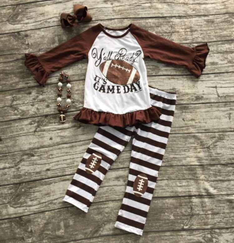 Football clothes Fall suit baby girls brown boutique pants striped long sleeves it s gameday with