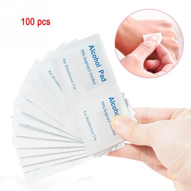 100pcs/lot Alcohol Prep Swap Pad Wet Wipe for Antiseptic Skin Cleaning Care Jewelry Mobile Phone Clean 1