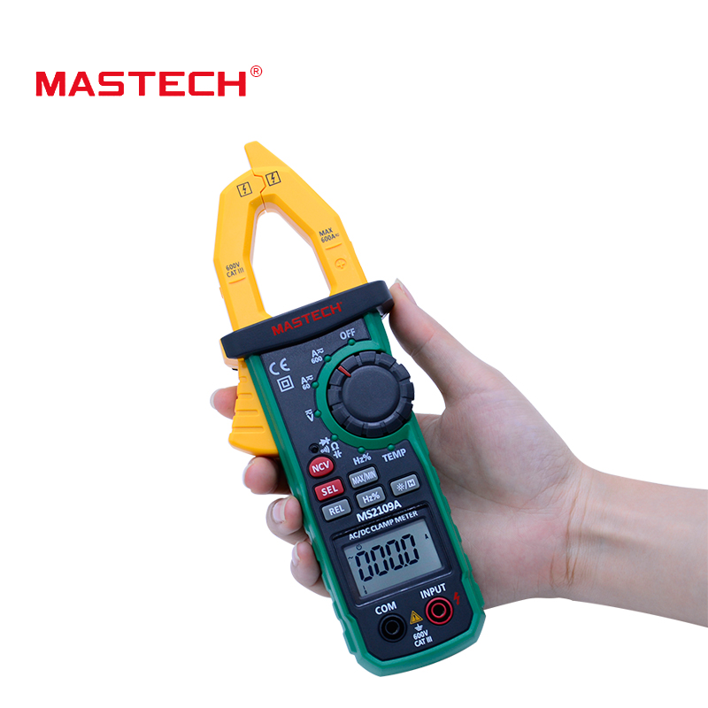 Mastech Auto Range Digital AC DC Clamp Meter  600A Multimeter Volt Amp Ohm HZ Temp Capacitance Tester NCV Test MS2109A
