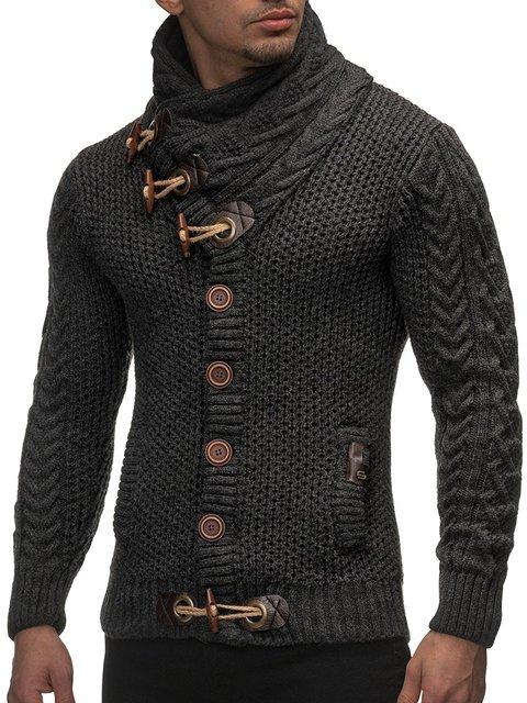 Cardigan Slim Horns Buckle Thick Hedging Turtleneck Men'S Sweater 3