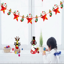 1pcs DIY Handmade Banner Flag Hat Toys Party Snowman Santa Claus Christmas Letter Decoration Pattern Toys Flags Hat Toys For Kid(China)