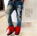 Новинка осень дети мальчики зима теплая джинсы детей буквы брюки детские брюки одежда детей 4 - 12 лет