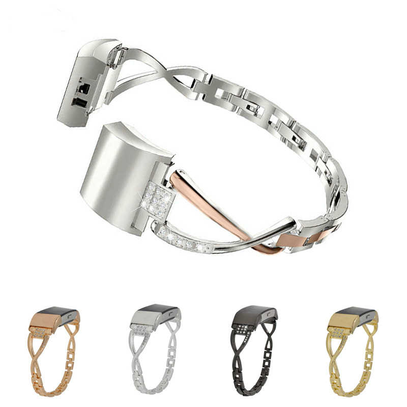 Duszake المعادن حزام ل Fitbit تهمة 2 الفرقة الذكية معصمه استبدال المقلاع مشبك حزام من المعدن ل Fitbit تهمة 2 النساء