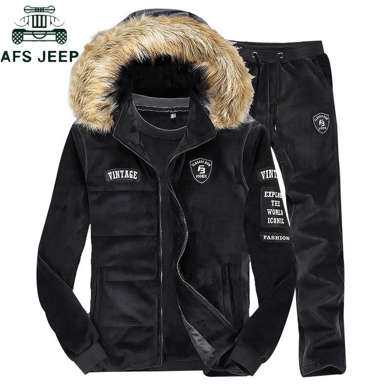 Мужские костюм тройка меховые толстые толстовки жилет мужские куртка пальто свитшот + полная длина брюки мужские повседневные мужские комп