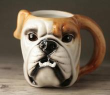 Tea coffee mugs ceramic 3D Cartoon Bulldog milk home decor crafts room wedding decoration porcelain figurine animal cup