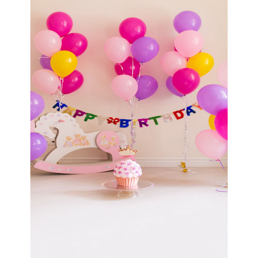 Vinyl cloth print 1st birthday colorful balloon party photo studio backgrounds for newborn portrait photography backdrops S-2301