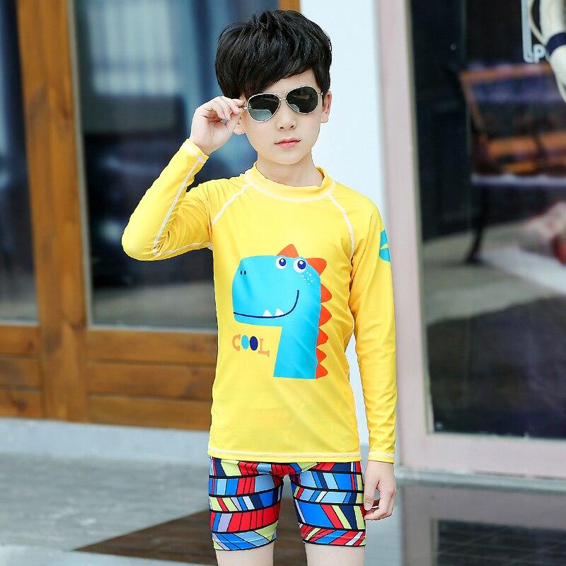 2-piece Set Girls Boy's UV Sun Protection Long Sleeve Swimsuit Set Swimming Shirt+Shorts Yellow Printed UPF50+
