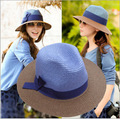 Korean version Women Holiday cap blue coffee hit the color spell color bow visor beach hat large brimmed straw hat best gift