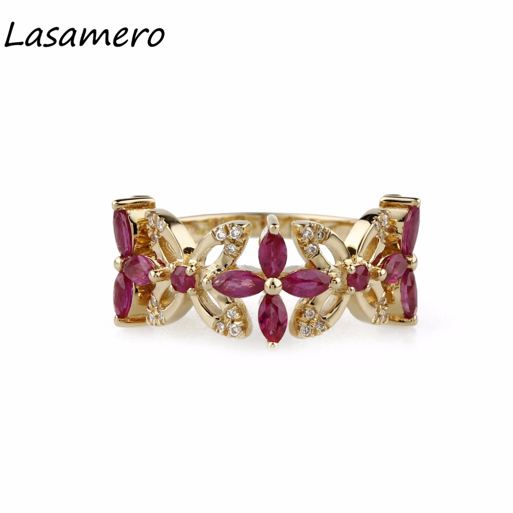 LASAMERO Marquise Cut 1.1CT Natural Ruby Gemstone 18k Rose Gold Romantic Style Diamond Accents Promise Engagement Ring