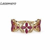 Lasamero Маркиза Cut 1.1ct природных драгоценных камней Рубин 18 К розовое золото Романтический Стиль алмаз акценты обещание Обручение кольцо