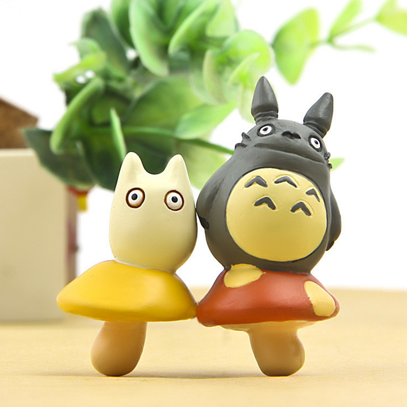 2 pcs/set cute Totoro Standing on Mushroom Figures Toys Anime My Neighbor Totoro PVC Action Figure Collectible Model Kids Toy
