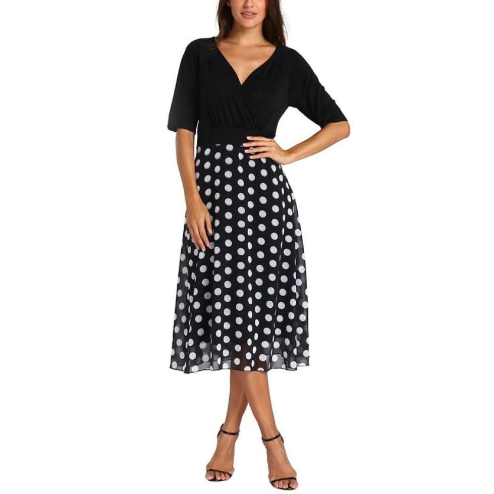 Women Plus Size 5XL V-Neck Dot Maxi Dress Party Boho Beach Dresses Black Half Sleeve Slim Formal Party Sundress Dresses -10