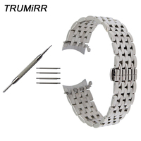 Curved Stainless Steel Watch Band 18mm 20mm 22mm for Maurice Lacroix Montblanc Oris Mido Titoni Wrist Strap Silver Gold Black