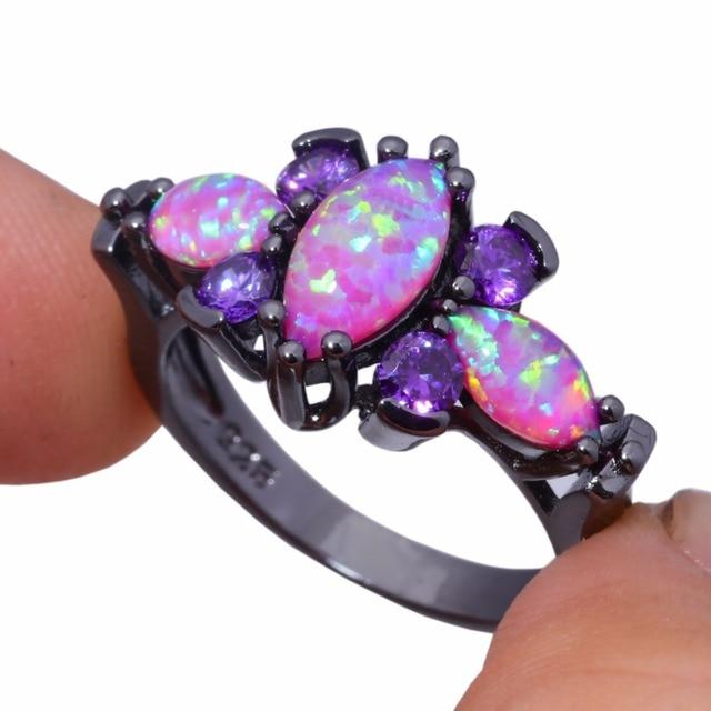 CiNily Creato Rosa Opale di Fuoco Viola Zircone Color Oro Nero Vendita all'ingrosso Caldo di Modo per i Monili Delle Donne Ring Size 5-12 OJ8129