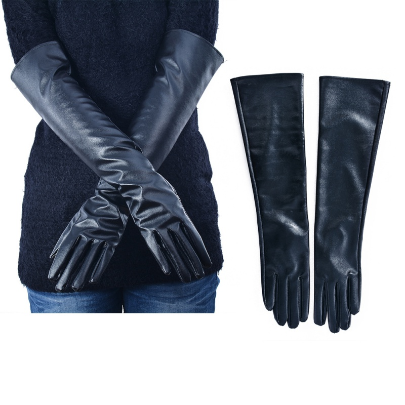 High Quality Fashion Women\'s Faux Leather Elbow Gloves Winter Long Gloves Warm Lined Finger Gloves 2019