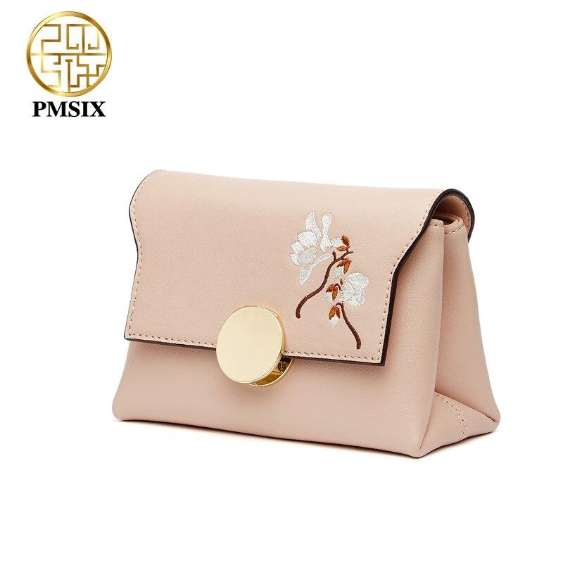 Pmsix znane marki modny haft kwiaty skóra Split Messenger torby dla kobiet wysokiej jakości szeroki pasek na ramię Femal torba w Torby z uchwytem od Bagaże i torby na  Grupa 3