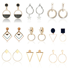 Trendy Simple Design Geometric Earrings Women Rhinestone Acrylic Metal Drop Earrings Square Round Hand Star Earrings Pendientes