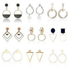Trendy Simple Design Geometric Earrings Women Rhinestone Acrylic Metal Drop Square Round Hand Star Pendientes