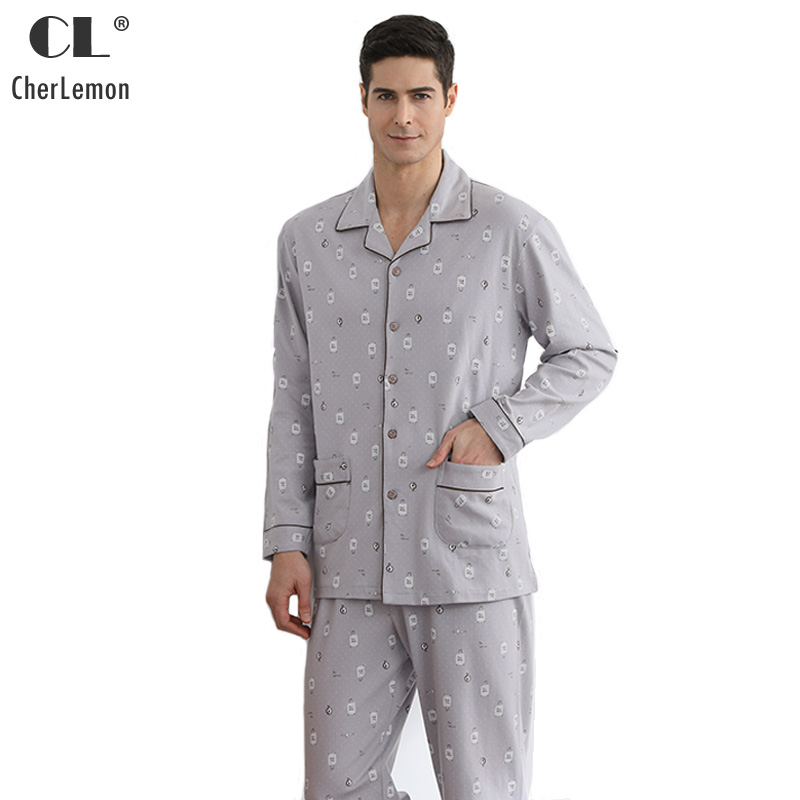 CherLemon Casual New Printed Cotton Pajama Set Mens Spring Autumn Long Sleeve Plus Size Grey Pyjamas Loungewear M-4XL For Men