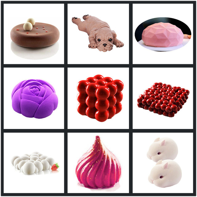 SHENHONG Art Cake Decorating Mold 3D Silicone Molds Baking Tools For Heart Round Cakes Chocolate Brownie Mousse Make Dessert Pan