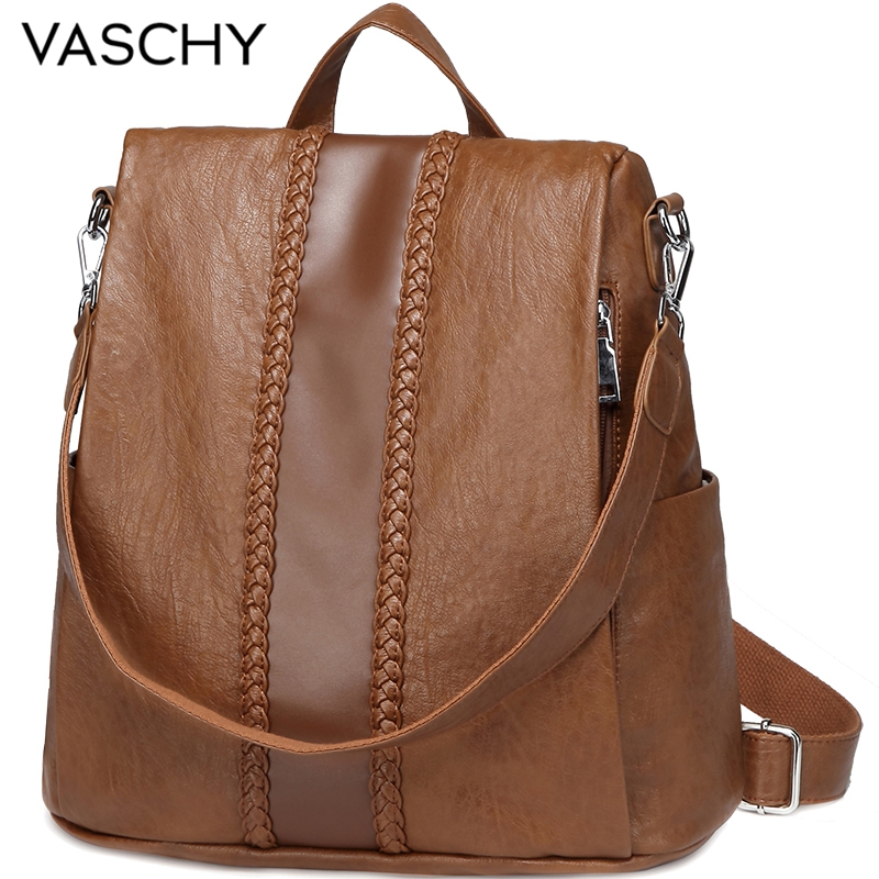 VASCHY Fashion Vegan Leather Anti-theft Women Backpack Vintage Weave Unique Soft School Bag For Teenager Girl Designer Purse