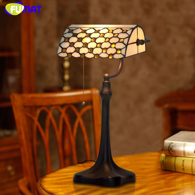 FUMAT Vintage Glass Lamp Quality Stained Glass Beads Tiffany Table Lamp For Living  Room Hotel Bedside