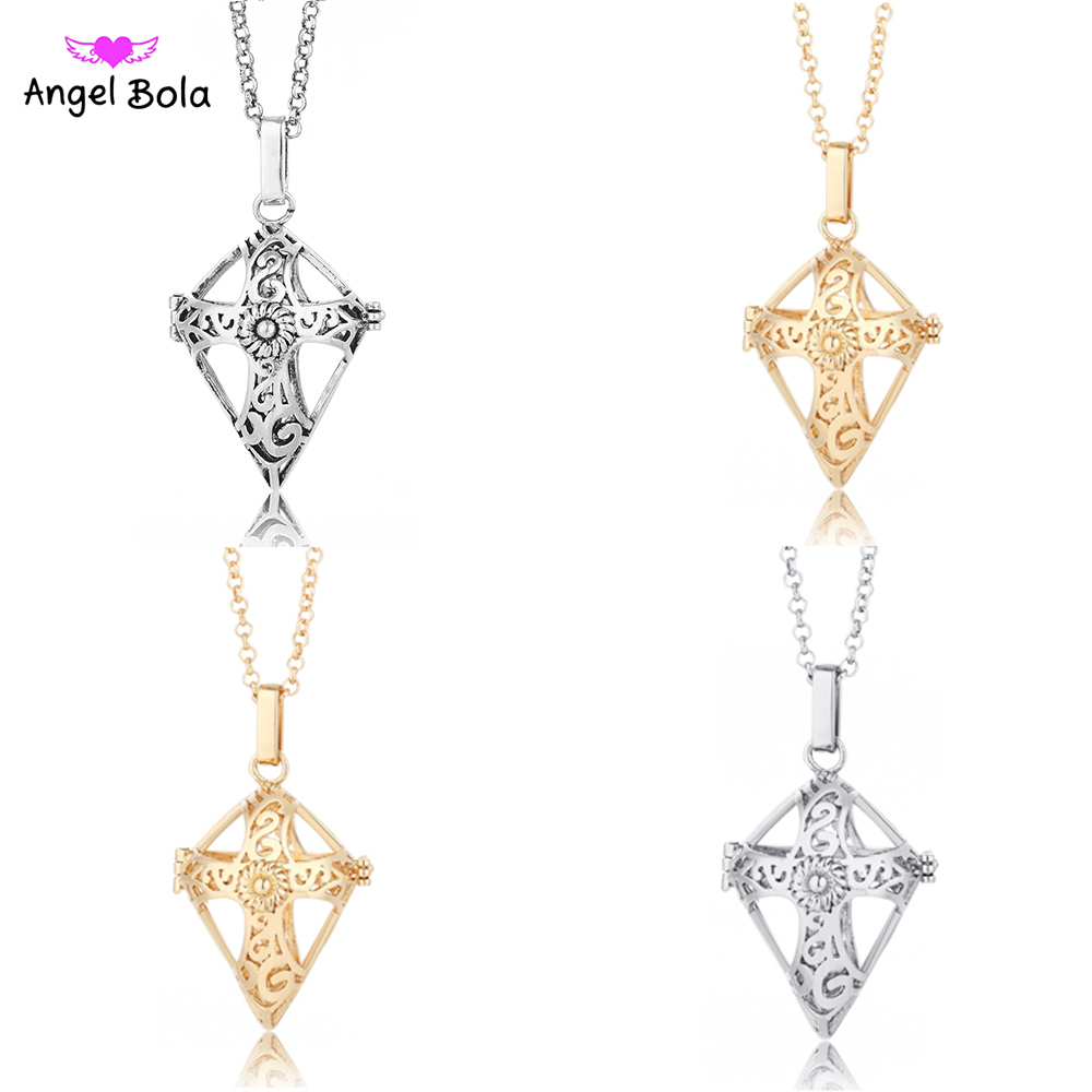 22.5mm Angel Bola Jewelry Cross Pendant DIY Harmony Caller Essential Oil Cage Locket for Women Chainl Necklace NL032
