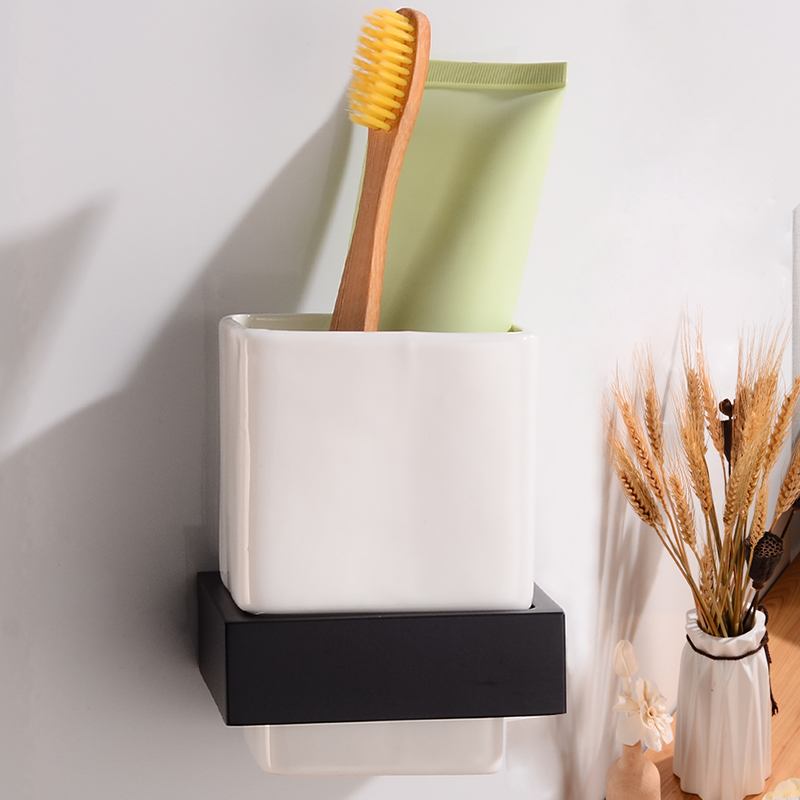 Toothbrush Holder Black Bathroom Cup Holder Aluminum Bathroom Accessories Toothbrush Holder Set Ceramic Cup Rack Wall Mounted