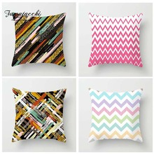 Fuwatacchi Geometric Printed Cushion Cover Colorful Stripe Diamond Pillow Pink Green Decorative Pillowcase for Home Sofa