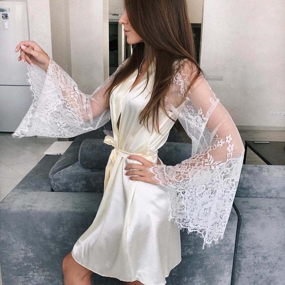 Women Long Sleeve Lace Robes Sleepwear Nightwear New Silk Kimono Robe BathrobeRobes Robe Ladies Dressing Gowns