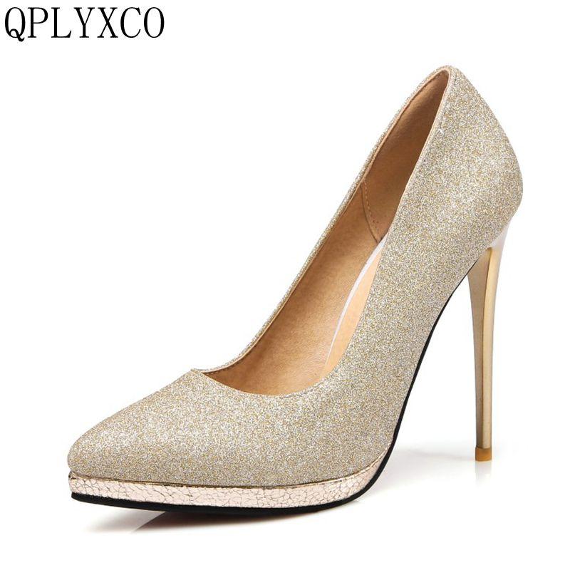 QPLYXCO Big size 31-45 Spring & Autumn Woman Sexy Pumps Extreme High Heels Platform Pumps Stiletto Female Valentine Shoes 10-15