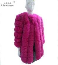 Linhaoshengyue Long 85cm real fox fur coat with sleeve long 55cm