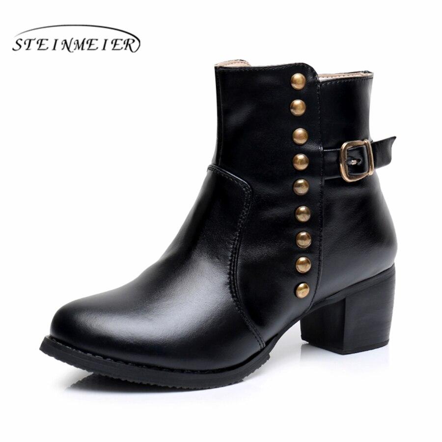Натуральная кожа ботильоны удобные мягкие ботинки дизайнерский Бренд ручной работы черный большой размер США 9 с мехом весна 2018