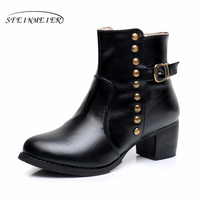 Cow Leather Ankle Boots Comfortable Quality Soft Shoes Brand Designer Handmade Black Us Size 9 5