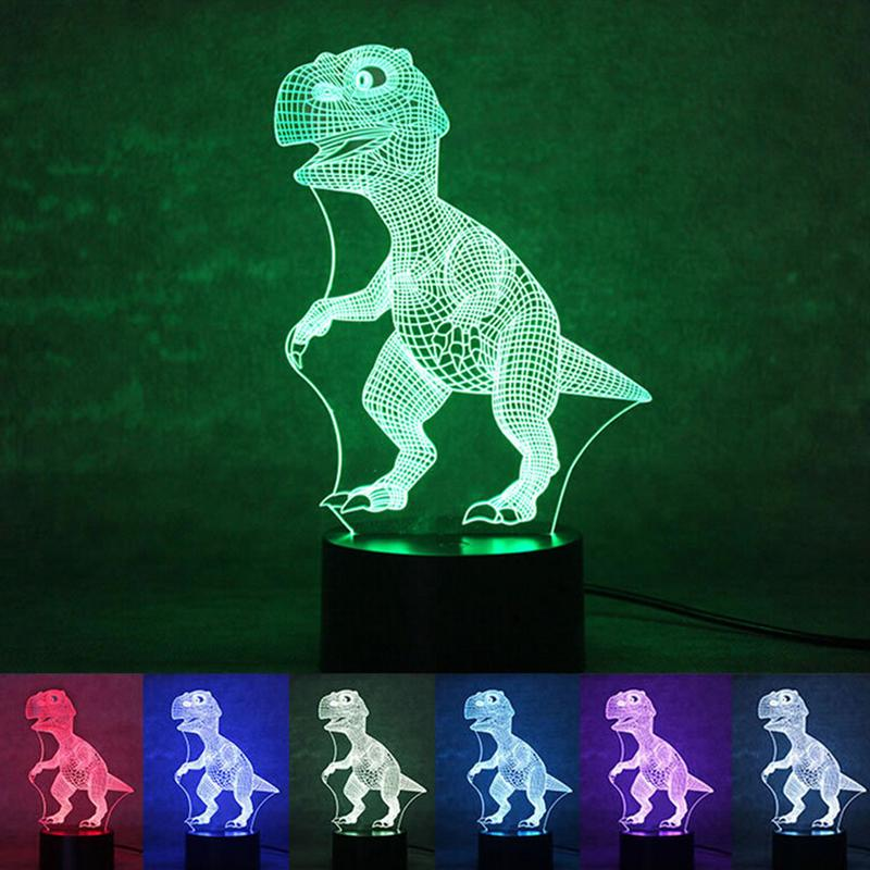 Novelty Touch 3D Illusion Dinosaur Switch Desk Light Night Light Colorful USB LED