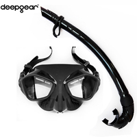 Deepgear spearfishing gears Black low profile spearfishing mask and flexible silicon snorkel freediving mask and snorkel set