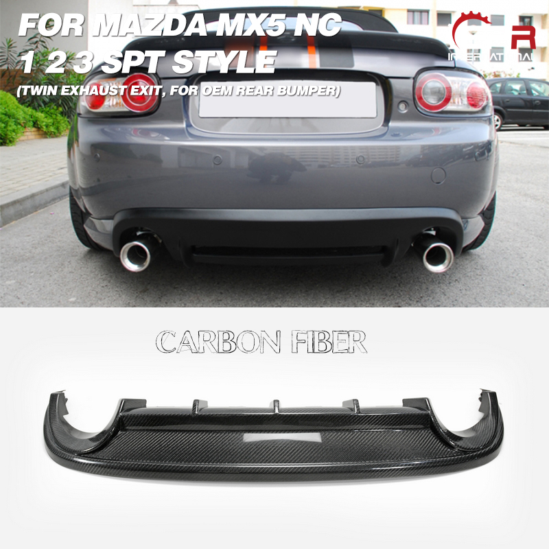 Carbon Diffuser Racing For <font><b>Mazda</b></font> <font><b>MX5</b></font> Roaster Miata NC 1 2 3 SPT Style FRP <font><b>Rear</b></font> Diffuser(Twin Exhaust Exit,For OEM <font><b>Rear</b></font> Bumper) image