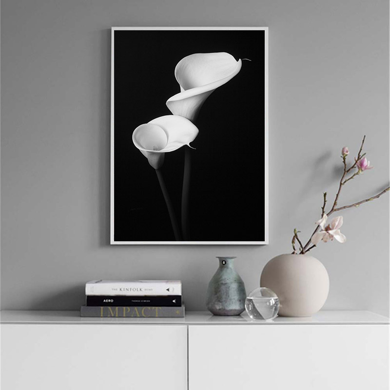 Black White Flower Canvas Poster Scandinavian Wall Art Abstract Print Minimalist Nordic Decoration Picture Living Room Decor in Painting Calligraphy from Home Garden