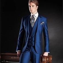 New Fashion Men Blazer Suit Wedding Business mens Suits blue Jacket Pants Formal Tuxedo Dress Costumes(Jacket+Pants+Vest+Tie)