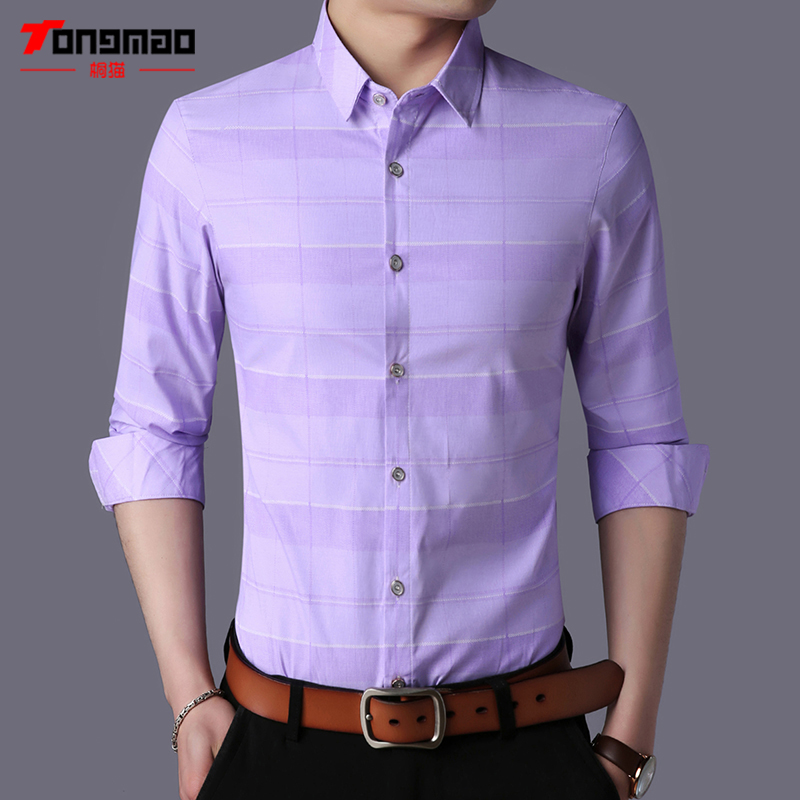 New Spring Men Clothes Long Sleeve Slim Fit Solid Color Mens Shirts Plaid Stripe Cotton Casual Male Social Business Shirt M-3XL