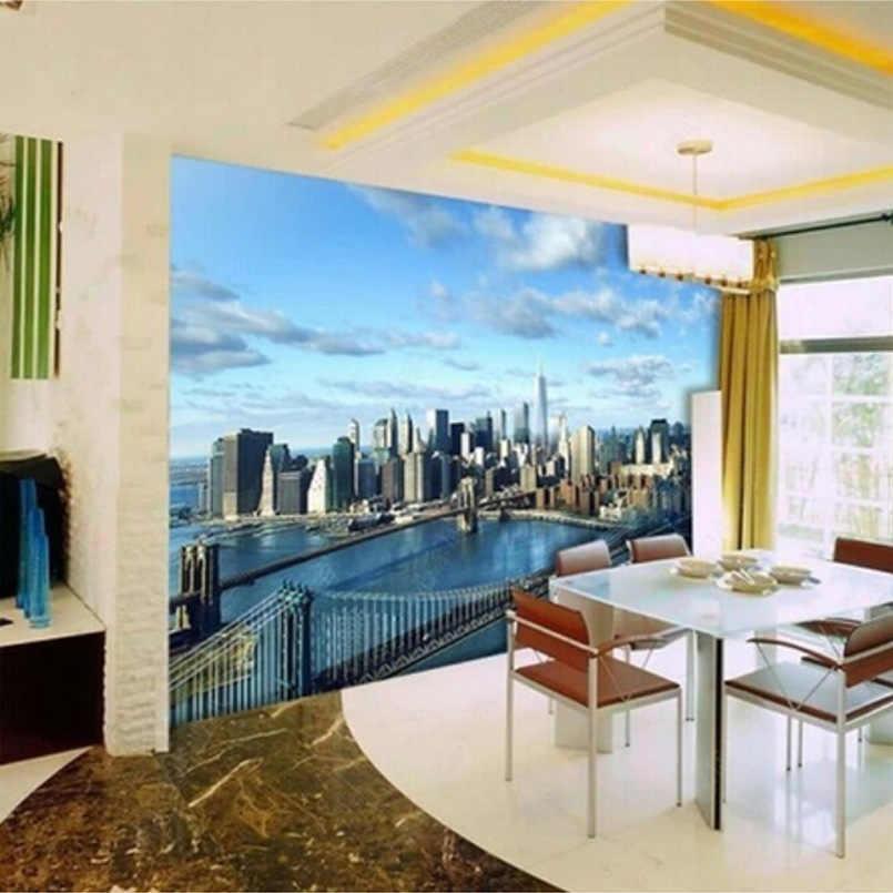 مخصص صور ورق حائط 3D غرفة المعيشة ديكورات جدارية بخلفية التلفاز اللوحة نيويورك سيتي سكيب جدارية خلفيات نوم