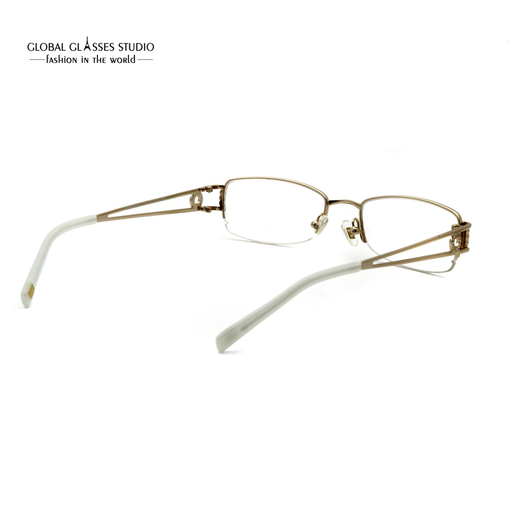 4db30e91135 Rectangular Lens Luxury Women Eyewear Gold Color Stone Metal Eyeglasses Half  Rim Slim Stainless Steel Optical Frame RM00466 C15-in Eyewear Frames from  ...