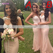 Sweetheart Mermaid Bridesmaid Dress Wedding Party Gown Appliques Lace Pink Bridesmaid Dress vestido de dama de honor (SL-B77)